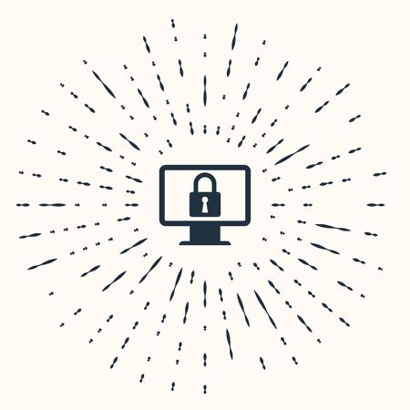 Grey Lock on computer monitor screen icon isolated on beige background. Monitor and padlock. Security, safety, protection concept. Safe internetwork. Abstract circle random dots. Vector Illustration
