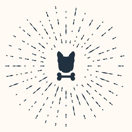 Grey Dog and bone icon isolated on beige background. Pets food symbol. Abstract circle random dots. Vector Illustration