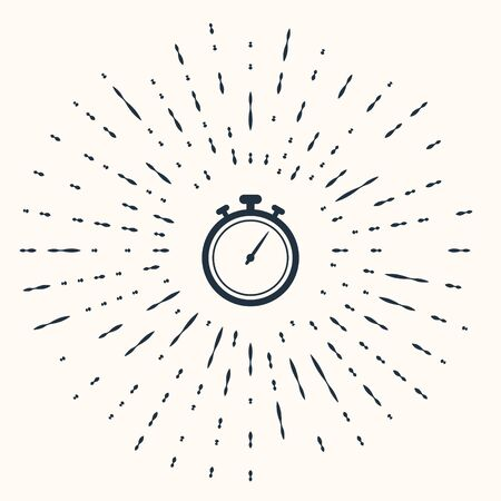 Grey Stopwatch icon isolated on beige background. Time timer sign. Chronometer sign. Abstract circle random dots. Vector Illustration