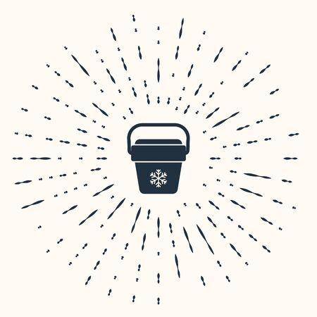 Grey Cooler bag icon isolated on beige background. Portable freezer bag. Handheld refrigerator. Abstract circle random dots. Vector Illustration Ilustrace