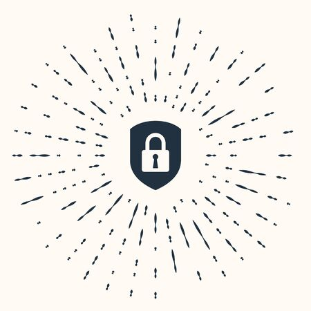 Grey Shield security with lock icon isolated on beige background. Protection, safety, password security. Firewall access privacy sign. Abstract circle random dots. Vector Illustration Stok Fotoğraf - 133960984