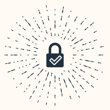 Grey Open padlock and check mark icon isolated on beige background. Cyber security concept. Digital data protection. Safety safety. Abstract circle random dots. Vector Illustration