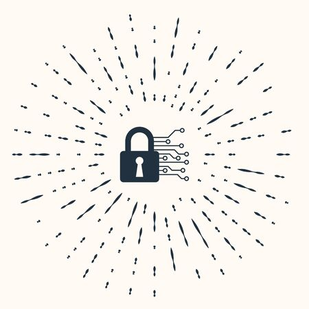 Grey Cyber security icon isolated on beige background. Closed padlock on digital circuit board. Safety concept. Digital data protection. Abstract circle random dots. Vector Illustration Stok Fotoğraf - 133960992