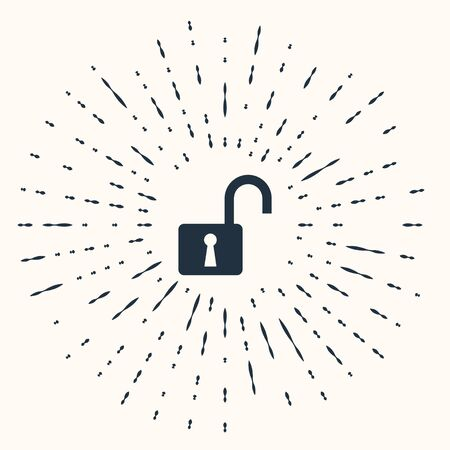 Grey Open padlock icon isolated on beige background. Opened lock sign. Cyber security concept. Digital data protection. Safety safety. Abstract circle random dots. Vector Illustration