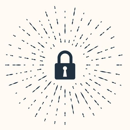 Grey Lock icon isolated on beige background. Closed padlock sign. Cyber security concept. Digital data protection. Safety safety. Abstract circle random dots. Vector Illustration Stok Fotoğraf - 133960996