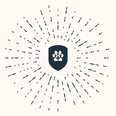 Grey Animal health insurance icon isolated on beige background. Pet protection icon. Dog or cat paw print. Abstract circle random dots. Vector Illustration