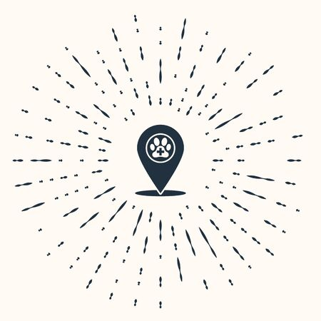Grey Map pointer with veterinary medicine hospital, clinic or pet shop for animals icon isolated on beige background. Vet or veterinarian clinic. Abstract circle random dots. Vector Illustration Standard-Bild - 133961334