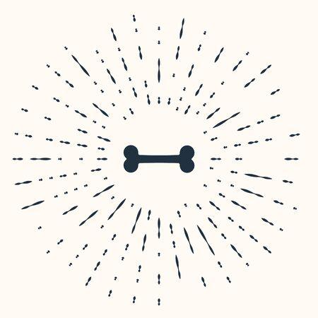 Grey Dog bone icon isolated on beige background. Pets food symbol. Abstract circle random dots. Vector Illustration