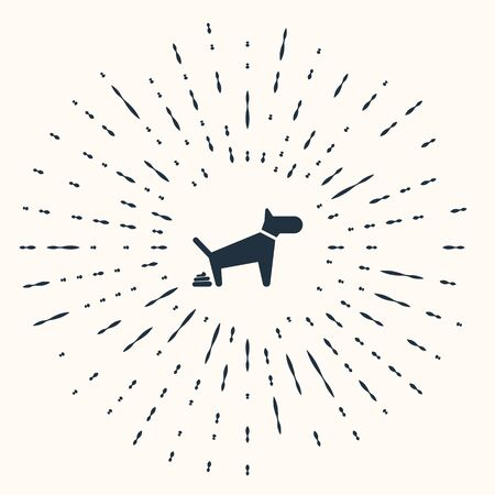 Grey Dog pooping icon isolated on beige background. Dog goes to the toilet. Dog defecates. The concept of place for walking pets. Abstract circle random dots. Vector Illustration