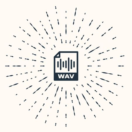 Grey WAV file document. Download wav button icon isolated on beige background. WAV waveform audio file format for digital audio riff files. Abstract circle random dots. Vector Illustration