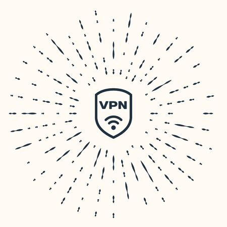 Grey Shield with VPN and wifi wireless internet network symbol icon isolated on beige background. VPN protect safety concept. Abstract circle random dots. Vector Illustration