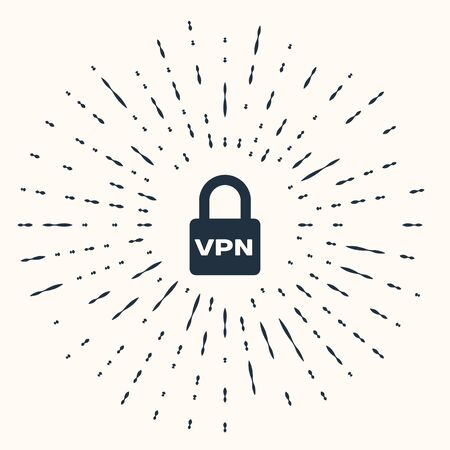 Grey Lock VPN icon isolated on beige background. Abstract circle random dots. Vector Illustration