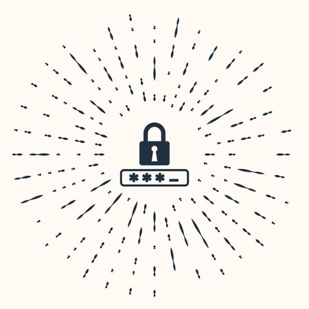 Grey Password protection and safety access icon isolated on beige background. Lock icon. Security, safety, protection, privacy concept. Abstract circle random dots. Vector Illustration Stok Fotoğraf - 133962098