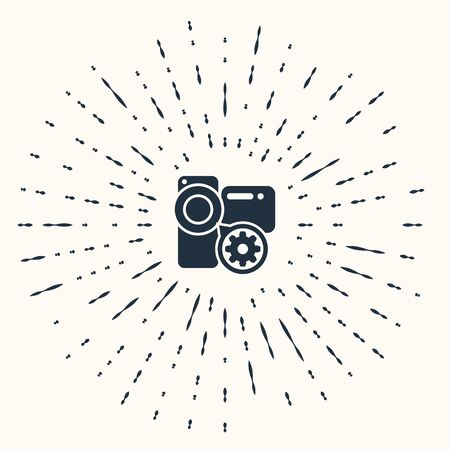 Grey Video camera and gear icon isolated on beige background. Adjusting app, service concept, setting options, maintenance, repair, fixing. Abstract circle random dots. Vector Illustration