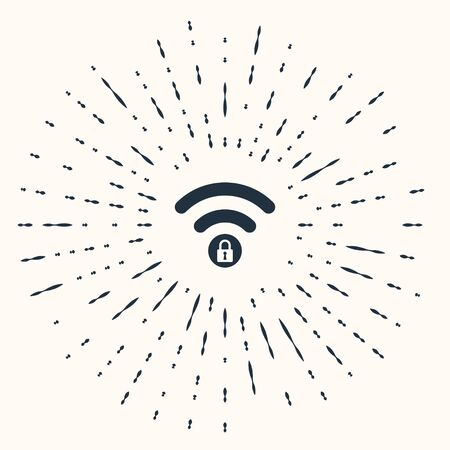 Grey Wifi locked sign icon isolated on beige background. Password Wi-fi symbol. Wireless Network icon. Wifi zone. Abstract circle random dots. Vector Illustration Çizim