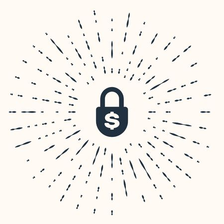 Grey Money lock icon isolated on beige background. Padlock and dollar symbol. Finance, security, safety, protection, privacy concept. Abstract circle random dots. Vector Illustration