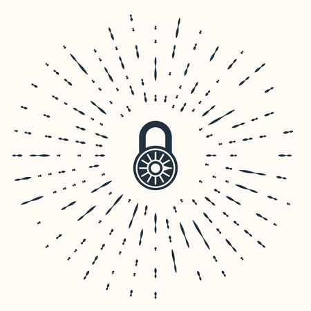 Grey Safe combination lock wheel icon isolated on beige background. Combination padlock. Security, safety, protection, password, privacy. Abstract circle random dots. Vector Illustration Stok Fotoğraf - 133962361