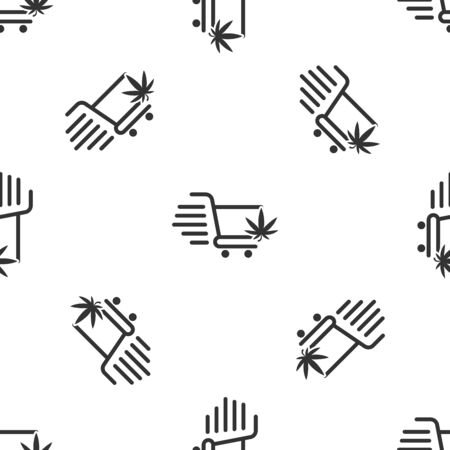 Grey Shopping cart with marijuana or cannabis leaf icon isolated seamless pattern on white background. Online buying. Delivery service. Supermarket basket. Vector Illustration