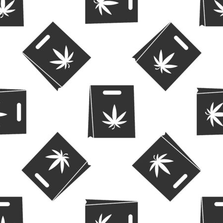 Grey Shopping paper bag of medical marijuana or cannabis leaf icon isolated seamless pattern on white background. Buying cannabis. Hemp symbol. Vector Illustration  イラスト・ベクター素材
