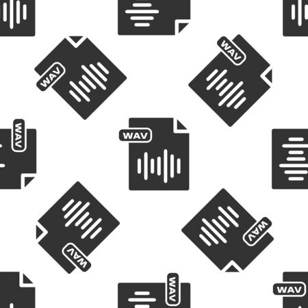 Grey WAV file document. Download wav button icon isolated seamless pattern on white background. WAV waveform audio file format for digital audio riff files. Vector Illustration