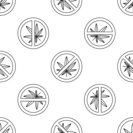 Grey Stop marijuana or cannabis leaf icon isolated seamless pattern on white background. No smoking marijuana. Hemp symbol. Vector Illustration Ilustração