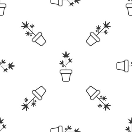 Grey Medical marijuana or cannabis plant in pot icon isolated seamless pattern on white background. Marijuana growing concept. Hemp potted plant. Vector Illustration
