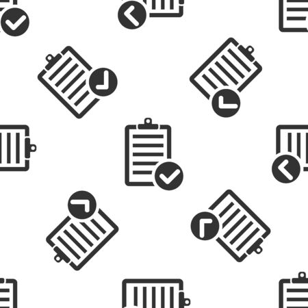 Grey Verification of delivery list clipboard and pen icon isolated seamless pattern on white background. Vector Illustration