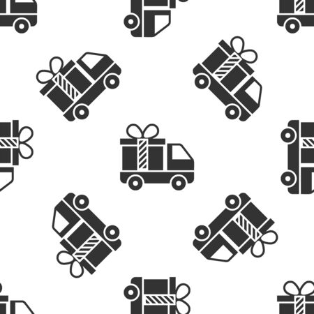 Grey Delivery truck with gift icon isolated seamless pattern on white background. Vector Illustration Stock Illustratie