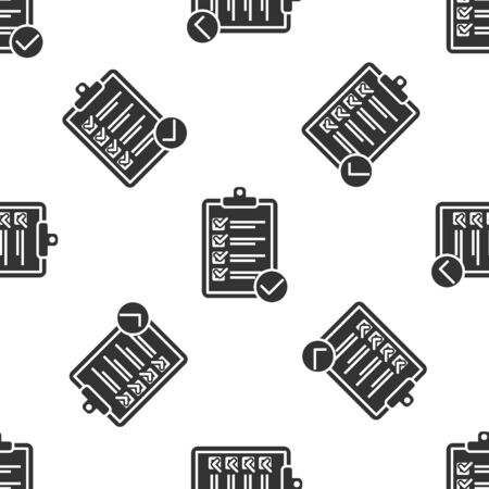Grey Verification of delivery list clipboard and pen icon isolated seamless pattern on white background. Vector Illustration Ilustração
