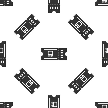 Grey Bus ticket icon isolated seamless pattern on white background. Public transport ticket. Vector Illustration Ilustração