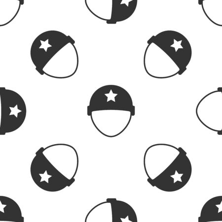 Grey Military helmet icon isolated seamless pattern on white background. Army hat symbol of defense and protect. Protective hat. Vector Illustration