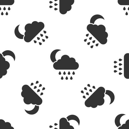 Grey Cloud with rain and moon icon isolated seamless pattern on white background. Rain cloud precipitation with rain drops. Vector Illustration