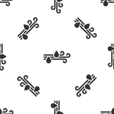 Grey Wind and rain icon isolated seamless pattern on white background. Windy weather. Vector Illustration
