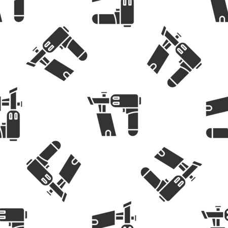 Grey Nail gun icon isolated seamless pattern on white background. Vector Illustration
