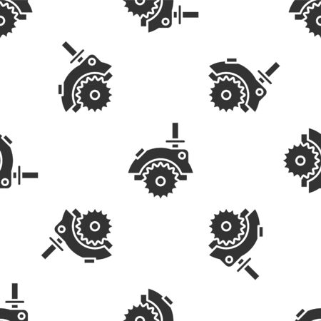 Grey Electric circular saw with steel toothed disc icon isolated seamless pattern on white background. Electric hand tool for cutting wood or metal. Vector Illustration