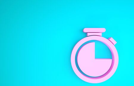 Pink Stopwatch icon isolated on blue background. Time timer sign. Minimalism concept. 3d illustration 3D render Reklamní fotografie