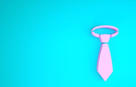 Pink Tie icon isolated on blue background. Necktie and neckcloth symbol. Minimalism concept. 3d illustration 3D render
