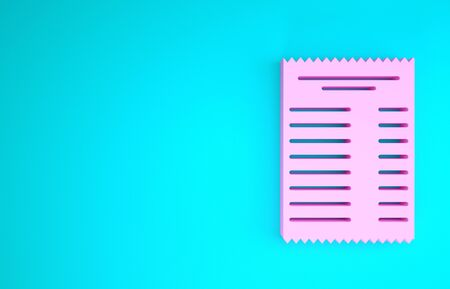 Pink Paper check and financial check icon isolated on blue background. Paper print check, shop receipt or bill. Minimalism concept. 3d illustration 3D render