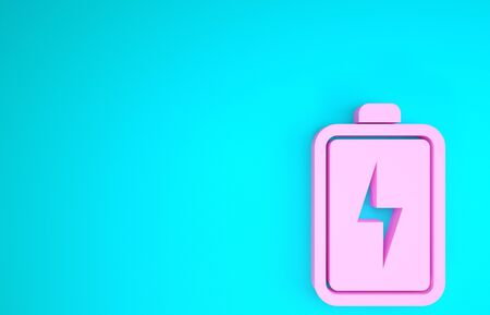 Pink Battery icon isolated on blue background. Lightning bolt symbol. Minimalism concept. 3d illustration 3D render