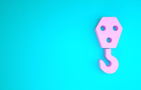 Pink Industrial hook icon isolated on blue background. Crane hook icon. Minimalism concept. 3d illustration 3D render Stock fotó