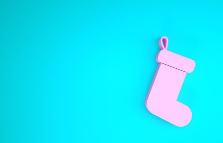 Pink Christmas sock icon isolated on blue background. Minimalism concept. 3d illustration 3D render