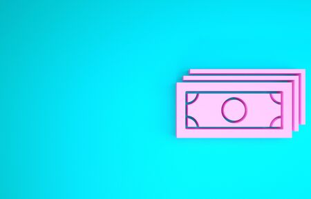 Pink Stacks paper money cash icon isolated on blue background. Money banknotes stacks. Bill currency. Minimalism concept. 3d illustration 3D render Stok Fotoğraf