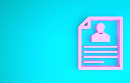 Pink Resume icon isolated on blue background. CV application. Searching professional staff. Analyzing personnel resume. Minimalism concept. 3d illustration 3D render