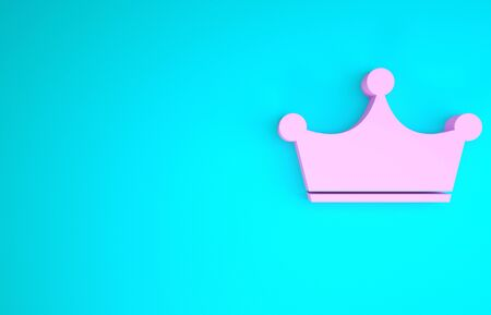 Pink Crown icon isolated on blue background. Minimalism concept. 3d illustration 3D render 스톡 콘텐츠 - 133747637
