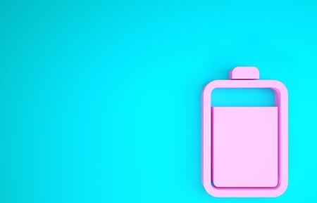 Pink Battery icon isolated on blue background. Minimalism concept. 3d illustration 3D render