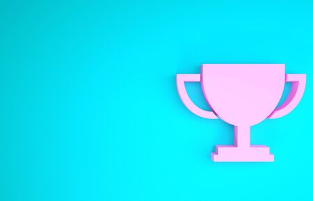 Pink Trophy cup icon isolated on blue background. Award symbol. Champion cup icon. Minimalism concept. 3d illustration 3D render
