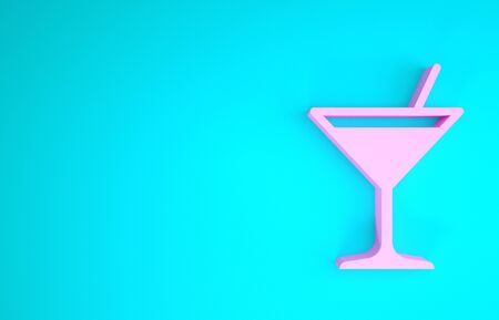 Pink Martini glass icon isolated on blue background. Cocktail icon. Wine glass icon. Minimalism concept. 3d illustration 3D render