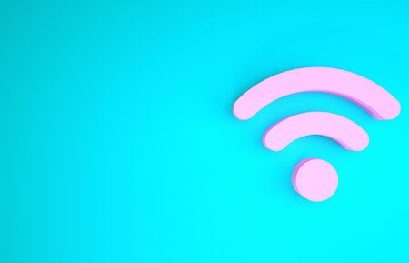 Pink wireless internet network symbol icon isolated on blue background. Minimalism concept. 3d illustration 3D render Stock fotó