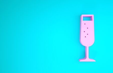 Pink Glass of champagne icon isolated on blue background. Minimalism concept. 3d illustration 3D render