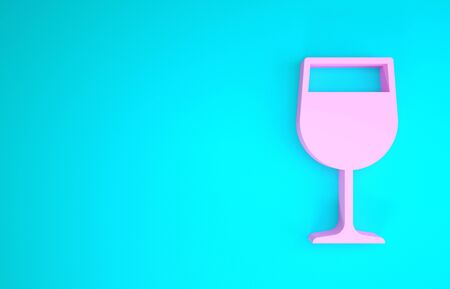 Pink Wine glass icon isolated on blue background. Wineglass icon. Goblet symbol. Glassware sign. Minimalism concept. 3d illustration 3D render